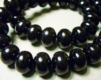 Glass Pearls Black Rondelle 12x8mm