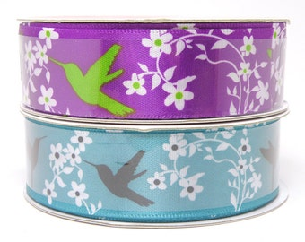 Hummingbird and Flower Ribbon, Purple Ribbon with White Flowers, Teal Blue Ribbon with Hummingbirds, 7/8 inch wide ribbon 3 yards