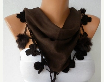 ON SALE --- Dark Coffee Pashmina Floral Pompom Scarf, Winter Shawl Cowl Scarf Bridesmaid Gift Gift Ideas For Her Women Fashion Accessories S