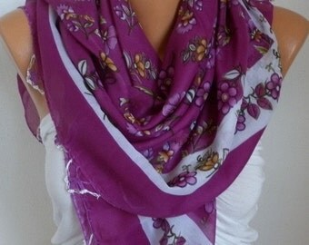 ON SALE --- Turkish Anatolians Floral Cotton Scarf, Wedding Scarf, Summer Scarf, Cowl Shawl Gift Ideas For Her Women Fashion Accessories Bri