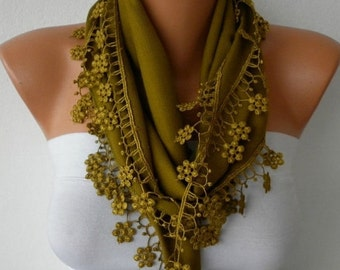 ON SALE --- Olive Green Floral Pashmina Scarf,Summer Scarf, Cowl Scarf, Bridesmaid Gift,Gift Ideas For Her, Women Fashion Accessories,Christ