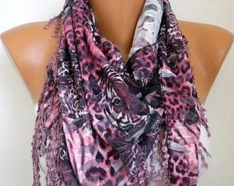 ON SALE --- Pink Leopard Print Scarf, Summer Fashion, Easter Animal Scarf Cowl  Scarf  Gift Ideas For Her Women Fashion Accessories