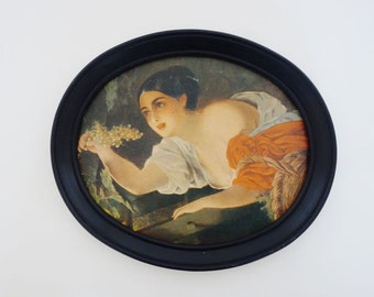 Vintage Oval Framed Print of a Girl with Grapes Made in Berlin Germany