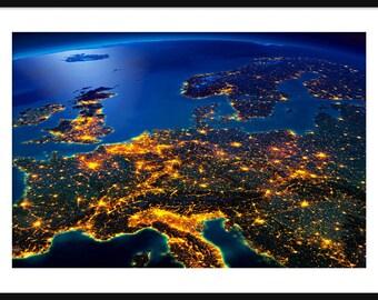 NASA - Earth At Night - Central Europe - Print - Poser