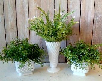 Greenery Arrangements ,Set of Life Like Spring Summer Floral Milk Glass Arrangements, Table Top, Garden Cottage, Rustic Home Decor