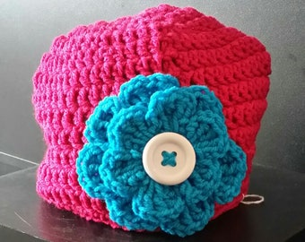 Pink Beanie Hat with flower, button, crochet, colorful, white, large flower, white, teal, warm, weather, cold, snow, messy bun hat