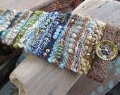 Earthy fiber leather Cuff bracelet - Magic Carpet/ Planet Earth - multi color blue green crystal stone unique festival boho by slashKnots