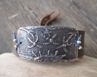 Setting sun distressed leather Cuff bracelet - New Horizon - summer beach boho by slashKnots