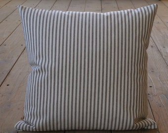 French Brown Ticking Pillow, Farmhouse Pillows, Shabby Chic, INSERT INCLUDED