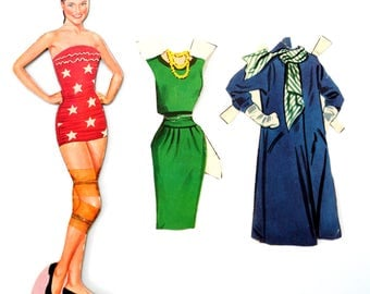 "Vintage Paper Doll ""Dianne"" with Clothing, 3 pieces (c.1940s) - Doll Ephemera, Collectible Doll, Paper Projects"