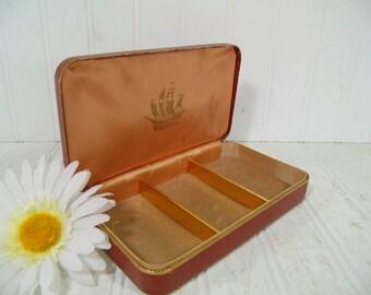 Shabby Hard Shell Saddle Brown Travel Farrington Texol Jewelry Case - Vintage Khaki Corduroy Lined Display Box Mens Metal Clam Shell Storage