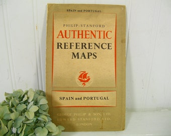 Philip-Stanford Authentic Reference Maps Spain and Portugal - Vintage Aged Paper Booklet with Large Fold Out Map of Spain & Portugal ©1954