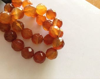 facet cut carnelian beads string lush translucent real carnelian 8mm