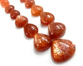 Sun-Stone Cabochon Super Top AAA High Quality Natural Sun Stone Cabochon Pear Drops 94.30Ct-Size- 11x12- 16x17MM -17Pc-Wholesale Price