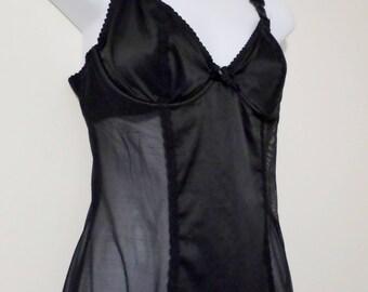Victoria's Secret Black vintage body hugging slip with built in bra and suspender straps - size 36C