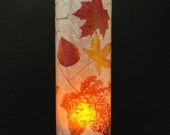 Fall Leaves electric candle cover with 1 free Electric Tea Light.  Outdoor lighting.  LED lights.  Gifts for women.  Fall wedding decor.