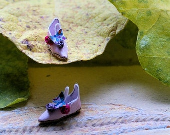 Miniature fairy shoes - pink silk with butterfly and roses - elf shoes