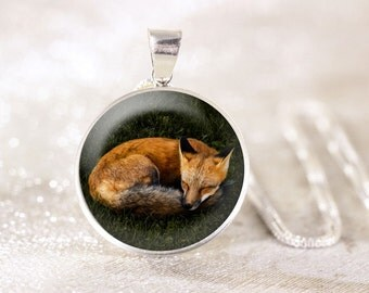 Sleeping Fox Sterling Silver Necklace - Real Silver Fox Jewelry, Red Fox Pendant, Silver Animal Necklace, Silver Wildlife Jewelry, Fox Gift