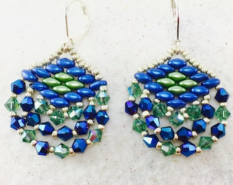 Spring Green and Blue Earring, Crystal Earrings, Super Duo Earrings, Swarovski Beaded Earrings, Crystal Dangle Earrings, Beadwork Earrings