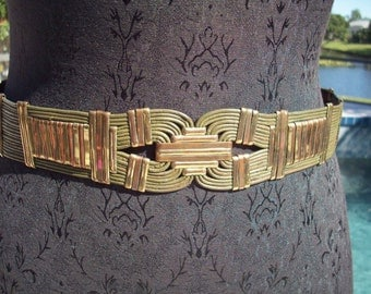 Gorgeous Brass and Leather Belt withmatching Bracelet