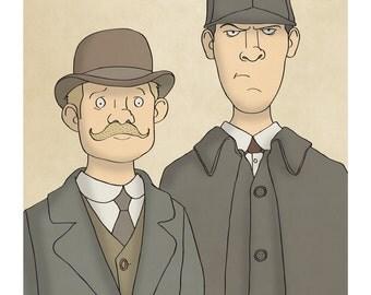 Sherlock and Watson - Illustration Print