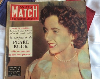 Rare French Paris Match 1950 edition of Elizabeth Taylor