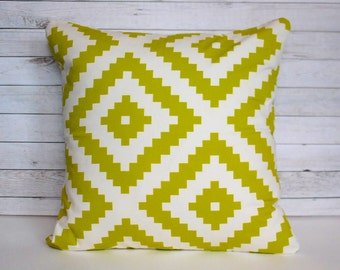 Geometric green chartreuse decorative pillow cover. Modern shabby chic cottage. Cover for 20x20 insert. Bedroom playroom nursery window seat