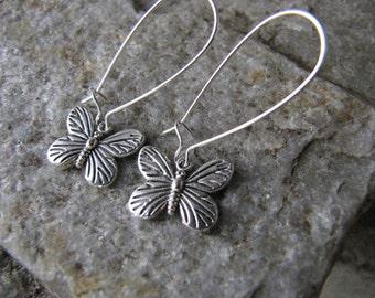 butterfly earrings long kidney wires antique silver pewter dainty lightweight butterfly jewelry