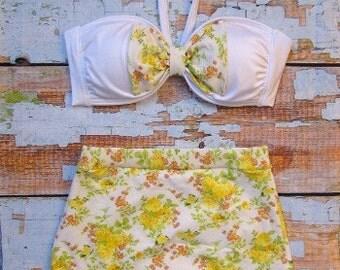 Retro High Waist Bow Bikini Set - Yellow Rose Floral Print - Vintage-Inspired Swimsuit - Size SMALL 4-6