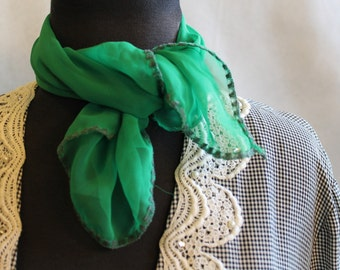 Sheer green, true green, square vintage scarf