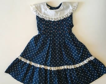 Vintage Navy & Eyelet Lace Polly Flinders Sun Dress (5)