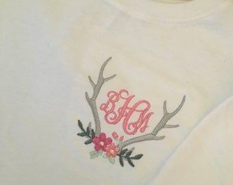 Monogrammed Long Sleeve Antler ans Flower Shirt