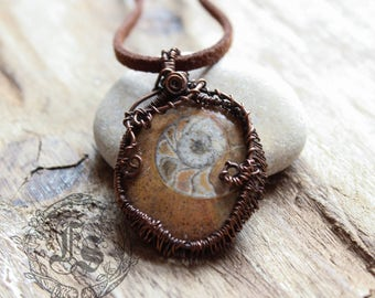 Wire Wrapped Ammonite Pendant Necklace. Serpent Stone. Small Hild's Eye