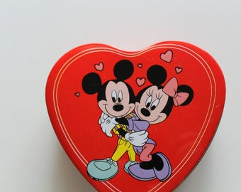 Vintage Mickey n Minnie Mouse Heart Tin 1980s
