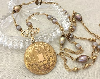 Vintage Assemblage Antique Locket Necklace - Anniversary Gift for Wife - Gold Filled Watch Chain Long Necklace - Pearl Necklace Gift for Her