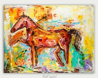 Original Colorful Figure Abstract, Horse Painting, Animal Art,  Oil On Canvas, Horse Portrait, Home Decor
