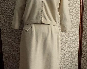 SALE - 1950's Beige Sweater and Skirt Set