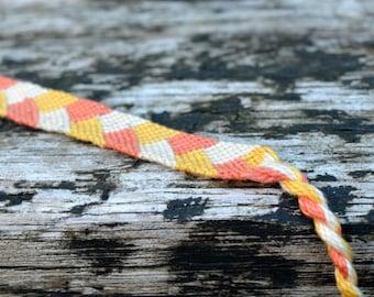 Orange friendship bracelet, braid pattern friendship bracelet, cotton macramé bracelet, pastel bracelet (ready to ship)