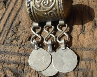 Moroccan very tarnished gold colour ornate bead  with three plain discs