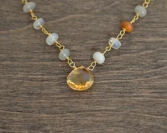 Citrine Necklace, Opal Necklace, November Birthstone, Beaded Necklace, Gemstone Necklace, Gold Necklace
