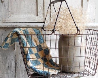 Vintage Industrial Wire Basket with Handles, Industrial Storage Decor