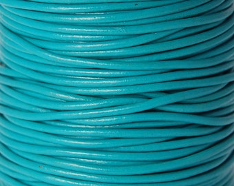 Turquoise 2mm Round Leather Cord 3 Yards / 9 Feet / 2.74 Meters