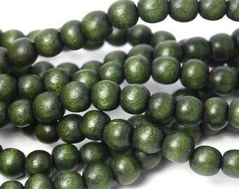 6mm Olivine Green Wood Beads -16 inch strand