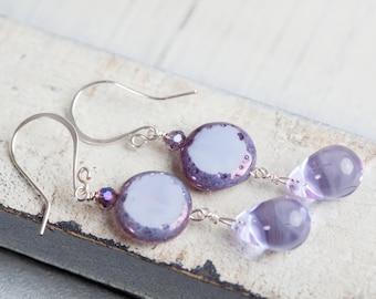 Lavender Drop Earrings, Purple, Drop Earrings, Lavender Earrings, Purple Earrings, Spring Earrings, Teardrop Earrings, Purple Teardrop, Gift