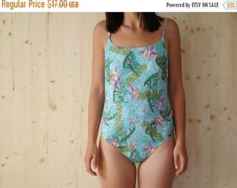 SALE Wintage 90's Hawaian Print One Piece Swimsuit L