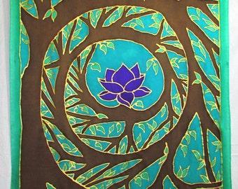Tree silk tapestry,silk wallhanging,spiritual gift,spiral art, lotus art,spiritual art, gifts under 100, meditation, reiki, wiccan, shamanic
