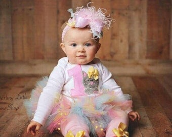 First Birthday Outfit Girl, First Birthday Outfit, Kitten birthday tutu outfit, pink yellow and light blue kitten theme