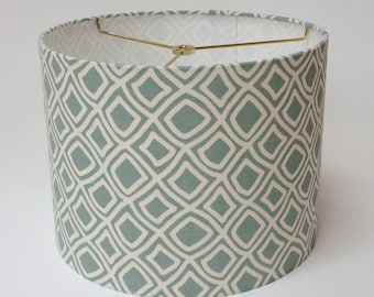 "Pale Aqua Lamp Shade 12"" D X 9"" H Ready to Ship"