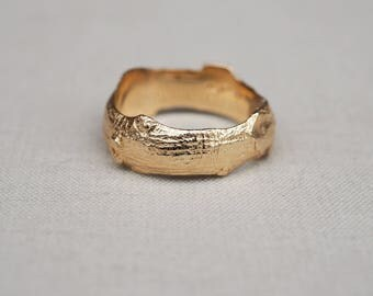 Solid Gold Infinity Is Too Short Hawthorn Bark Ring