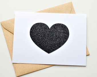 Glitter Heart Note Card Set - Black Heart // Note Card Set // Valentine's Day Card